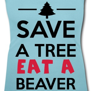 Bos en Dier - Save a Tree eat a Beaver T-shirts - Vrouwen T-shirt met U-hals