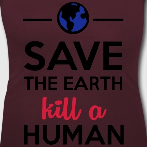 Mänskligheten - Save the Earth kill a Human T-shirts - T-shirt med u-ringning dam