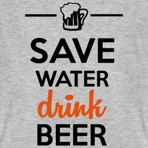 Alkohol Fun Shirt- Save Water drink Beer T-skjorter - Økologisk T-skjorte for menn
