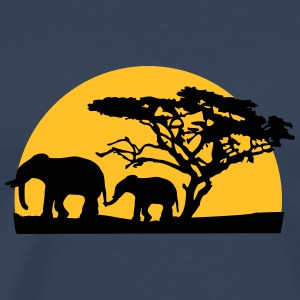 Sunset In Africa Tree And Elephants T-shirts - Mannen Premium T-shirt