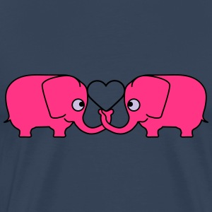 Love Elephant Couple T-shirts - Herre premium T-shirt