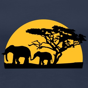 Sunset In Africa Tree And Elephants T-skjorter - Premium T-skjorte for kvinner