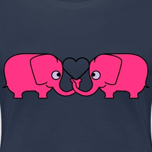Love Elephant Couple T-skjorter - Premium T-skjorte for kvinner