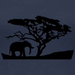 Africa Tree And Elephant T-shirts - Dame premium T-shirt