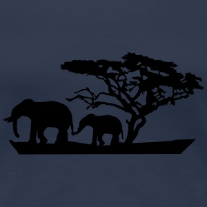 Africa Tree And Elephants T-shirts - Dame premium T-shirt
