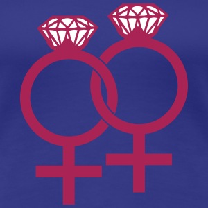 Lesbian Marriage Ring Symbol T-shirts - Premium-T-shirt dam