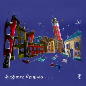 Woman T-shirt Fantasy Art Night Design - Venice Italy - Women's Premium T-Shirt