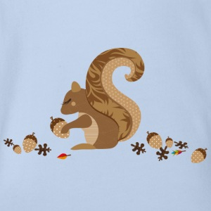 A squirrel with an acorn Shirts - Organic Short-sleeved Baby Bodysuit