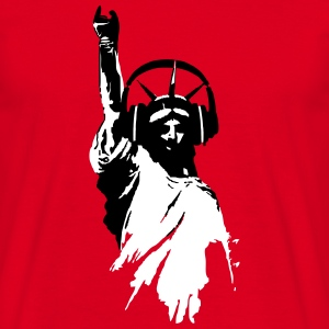 DJ T-Shirt Lady Liberty Headphone (Herren/Rot) - Männer T-Shirt