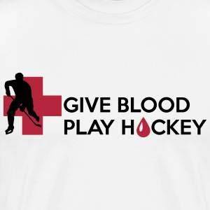Give Blood, play Hockey T-shirts - Herre premium T-shirt