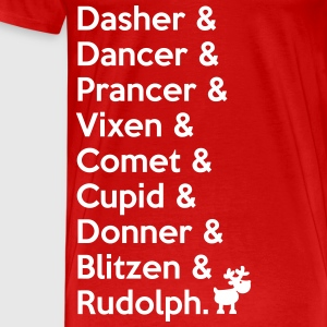 X-MAS Reindeers: Dasher, Dancer, ... Rudolph T-Shirts - Men's Premium T-Shirt