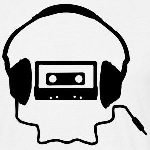 Tape Headphones and a Skull Camisetas - Camiseta hombre