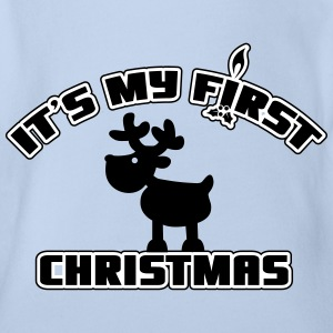 It's my first Christmas Shirts - Organic Short-sleeved Baby Bodysuit