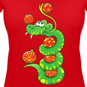 Christmas Snake T-Shirts - Women's V-Neck T-Shirt