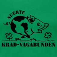 Motiv ~ Girlie-Shirt: Glücksschwein (schwarzer Aufdruck) - runder Halsausschnitt