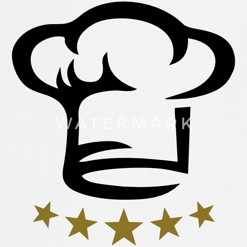 Five star chef hat, gold, hotel, cook, kitchen, 5, Kookschorten - Keukenschort