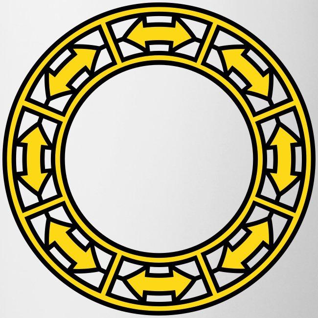 Tasse mit Doppel-Pfeilen im Ring