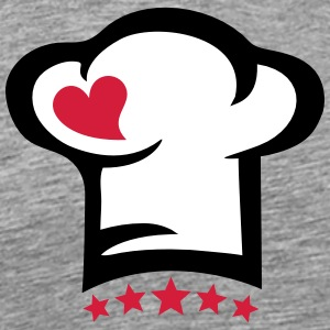 Chef hat heart, 5 stars, cook, kitchen, restaurant Camisetas - Camiseta premium hombre