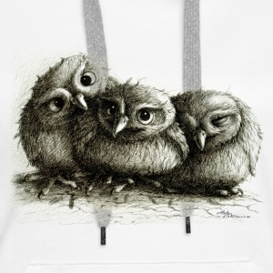 three young owls - Bluza damska Premium z kapturem