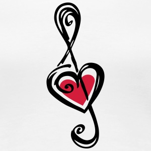 Heart clef, classic, treble, note, music, violin T - Women's Premium T-Shirt
