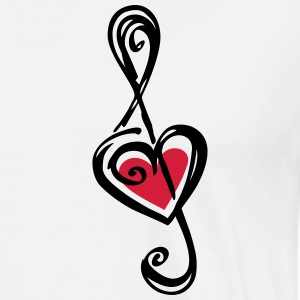 Heart clef, classic, treble, note, music, violin T-skjorter - Premium T-skjorte for menn
