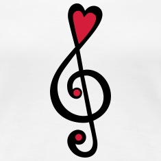 Music, heart notes, classic, treble clef, violin Magliette