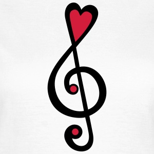 Music, heart notes, classic, treble clef, violin T - Women's T-Shirt