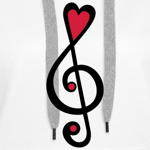 Music, heart notes, classic, treble clef, violin Sweatshirts - Dame Premium hættetrøje