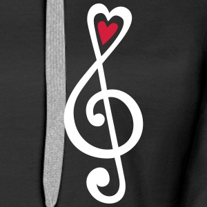 Music, heart notes, classic, treble clef, violin H - Women's Premium Hoodie