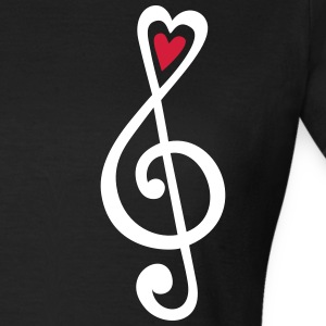 Music, heart notes, classic, treble clef, violin Camisetas - Camiseta mujer