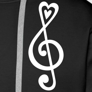 Music, heart notes, classic, treble clef, violin H - Men's Premium Hoodie