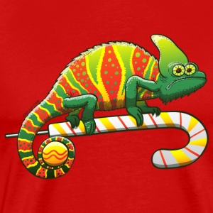 Christmas Chameleon on a Candy Cane T-Shirts - Men's Premium T-Shirt