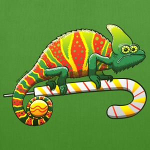 Christmas Chameleon on a Candy Cane Bags & backpacks - EarthPositive Tote Bag