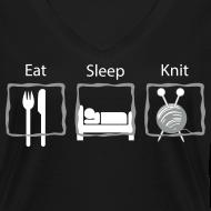 Ontwerp ~ Eat Sleep Knit V-hals T-shirt
