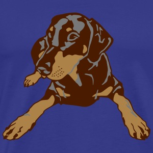 Dobermann Pinscher lying T-shirts - Mannen Premium T-shirt