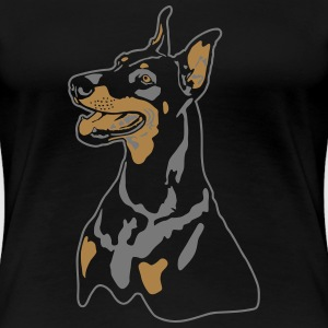 Dobermann Pinscher Head T-shirts - Vrouwen Premium T-shirt