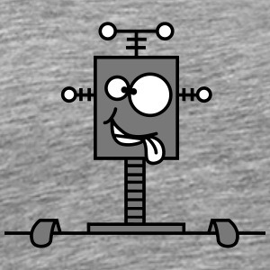 Funny Crazy Robot Behind Wall T-shirts - Herre premium T-shirt