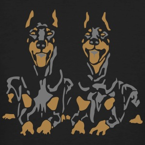 Dobermann Pinscher Black Down Standing Ears T-shirts - Ekologisk T-shirt herr