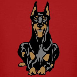 Dobermann Pinscher Black Down Standing Ears Tee shirts - T-shirt bio Homme