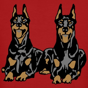 Dobermann Pinscher Black Down Standing Ears T-skjorter - Økologisk T-skjorte for menn