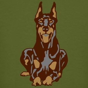 Dobermann Pinscher Brown Down Standing Ears Tee shirts - T-shirt bio Homme