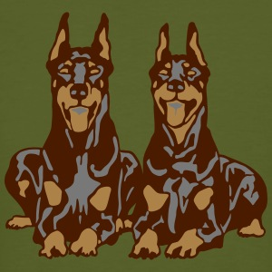 Dobermann Pinscher Brown Down Standing Ears T-shirts - Ekologisk T-shirt herr