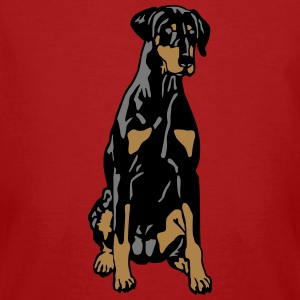 Dobermann Pinscher Black Sit T-shirts - Mannen Bio-T-shirt