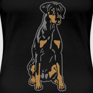 Dobermann Pinscher Black Sit T-skjorter - Premium T-skjorte for kvinner