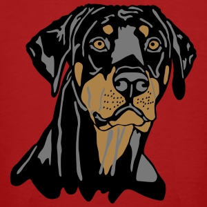 Dobermann Pinscher Black Head T-shirts - Mannen Bio-T-shirt