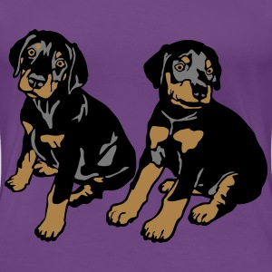 Dobermann Pinscher Black Sitting Puppies  T-shirts - Dame premium T-shirt