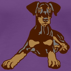Dobermann Pinscher Brown Puppy T-shirts - Dame premium T-shirt