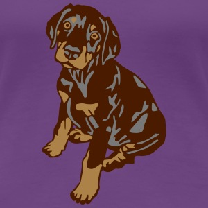 Dobermann Pinscher Brown Sitting Puppy T-shirts - Premium-T-shirt dam