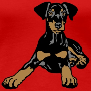 Dobermann Pinscher Black Puppy T-shirts - Premium-T-shirt dam