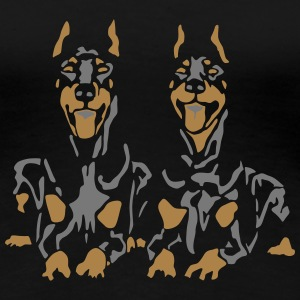 Dobermann Pinscher Black Down Standing Ears T-shirts - Premium-T-shirt dam